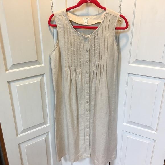 da4c3adb51460 L.L. Bean Dresses   Skirts - L.L. Bean Tan 100% Linen Button Down Dress 12